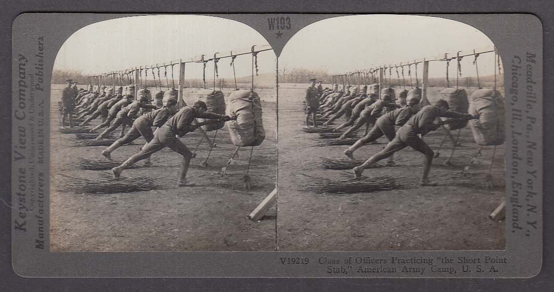 American Army Camp Officers Bayonet Class WWI Keystone stereoview 1920s