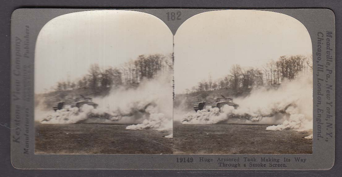 British Heavy Armored Tank through Smoke Screen WWI Keystone stereoview 1920s