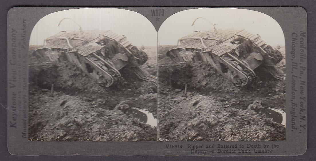 Derelict British Tank Cambrai WWI Keystone stereoview 1920s