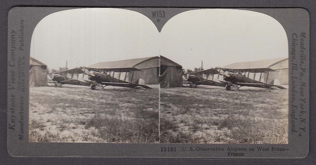 Image for US Observation Airplane on West Front France WWI Keystone stereoview 1920s