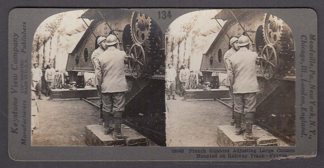 French Gunners Large Cannon on Railway Track WWI Keystone stereoview 1920s