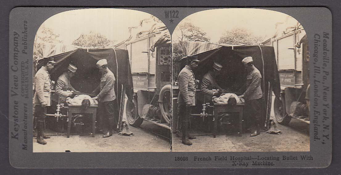 French Field Hospital X-Ray Machine WWI Keystone stereoview 1920s
