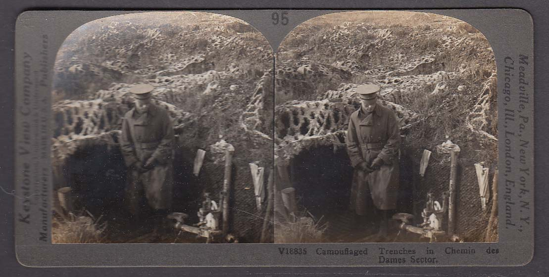 Camouflaged Trenches in Chemin des Dames Sector WWI Keystone stereoview 1920s