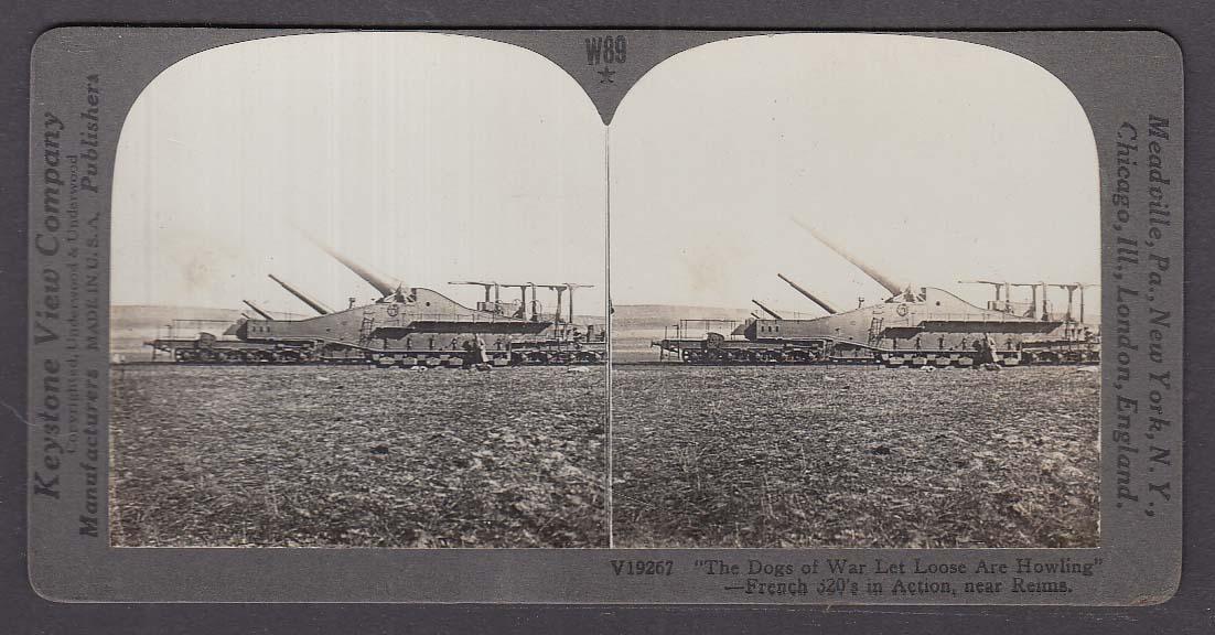 French 320mm Guns Firing near Reims WWI Keystone stereoview 1920s