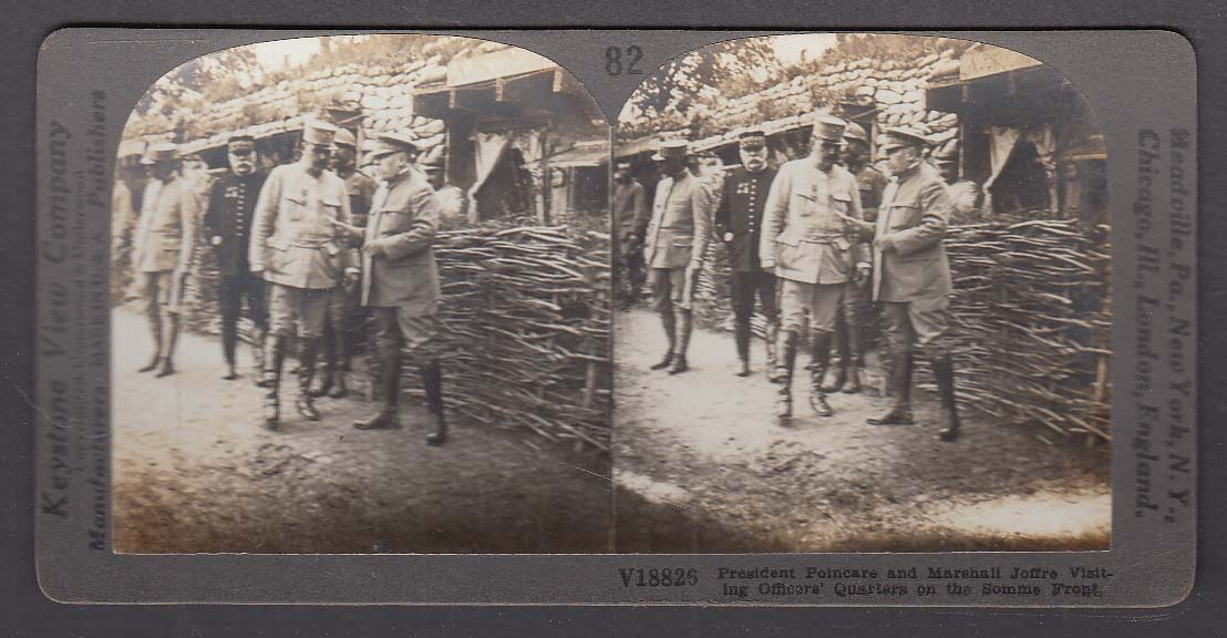 President Poincare & Marshall Joffre Somme Front WWI Keystone stereoview 1920s