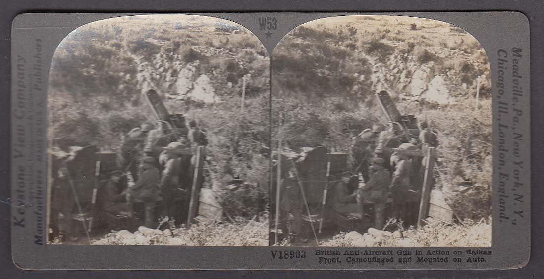 British Anti-Aircraft Gun Balkan Front WWI Keystone stereoview 1920s