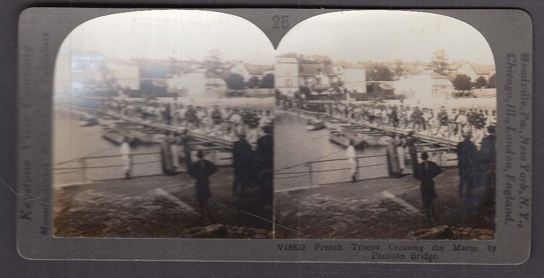 French Troops Crossing Marne by Pontoon Bridge WWI Keystone stereoview 1920s