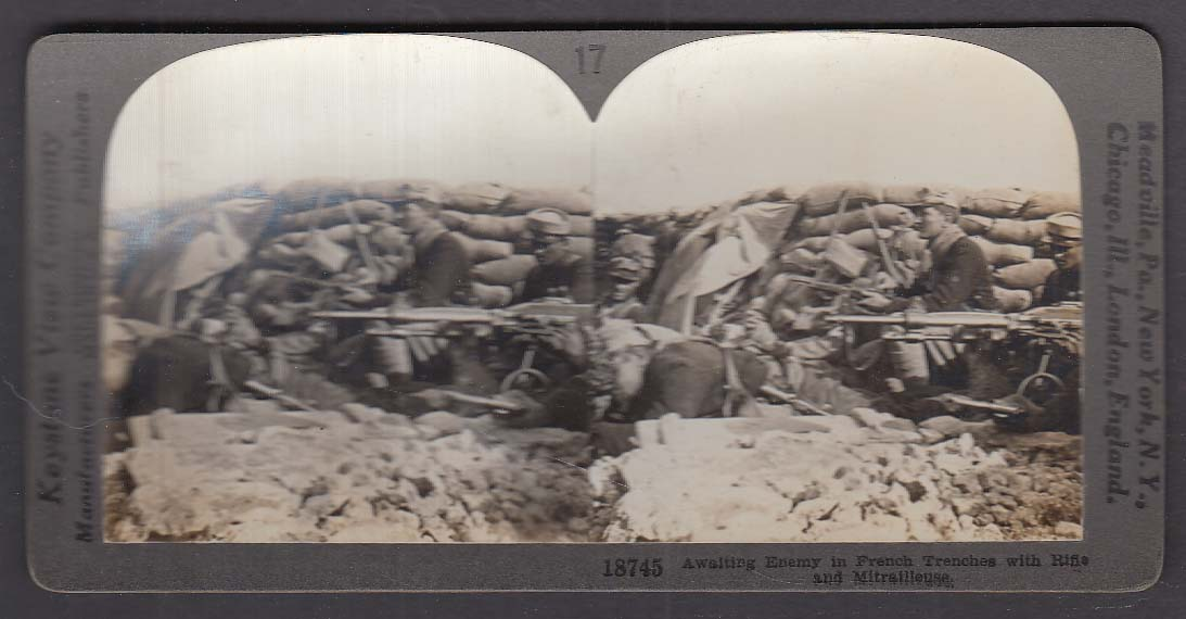 French Trenches Rifle Mitrailleuse Hotchkiss + WWI Keystone stereoview 1920s