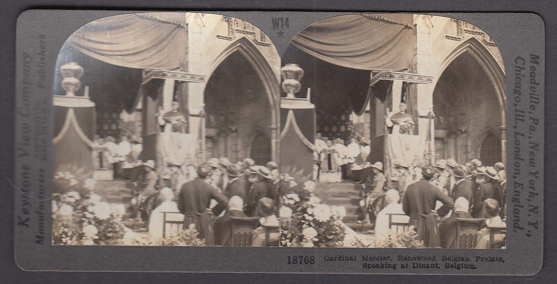 Cardinal Mercier speaking at Dinant Belgium W14 WWI Keystone stereoview 1920s