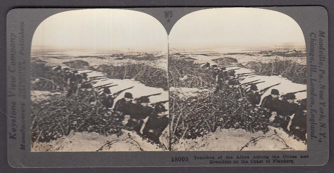 Allied Trenches Coast of Flanders W9 WWI Keystone stereoview 1920s