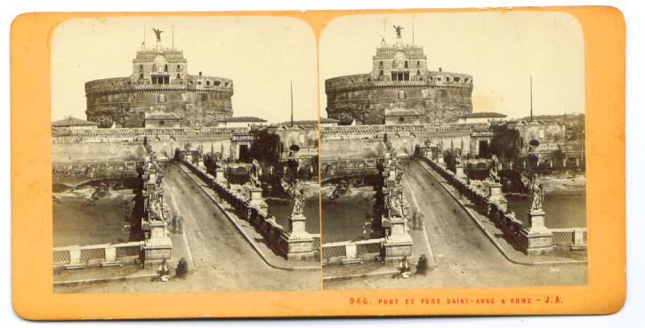 Bridge & Fort Saint-Ange Rome stereoview 187?