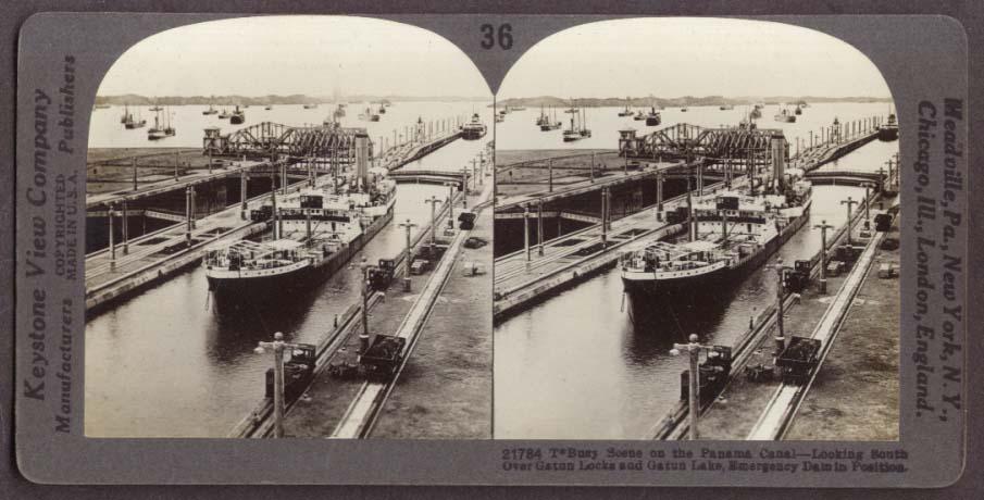 South view Gatun Locks Panama Canal stereoview 1910s