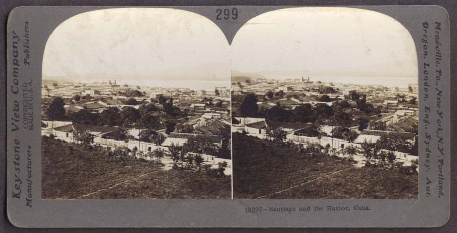 Panorama of Santago & the Harbor Cuba stereoview 1910s