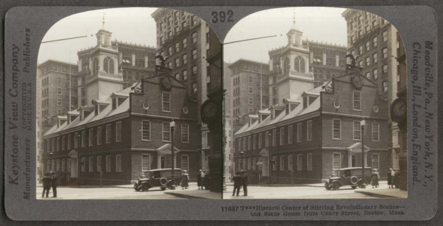 Old State House Court St Boston MA stereoview 1910s
