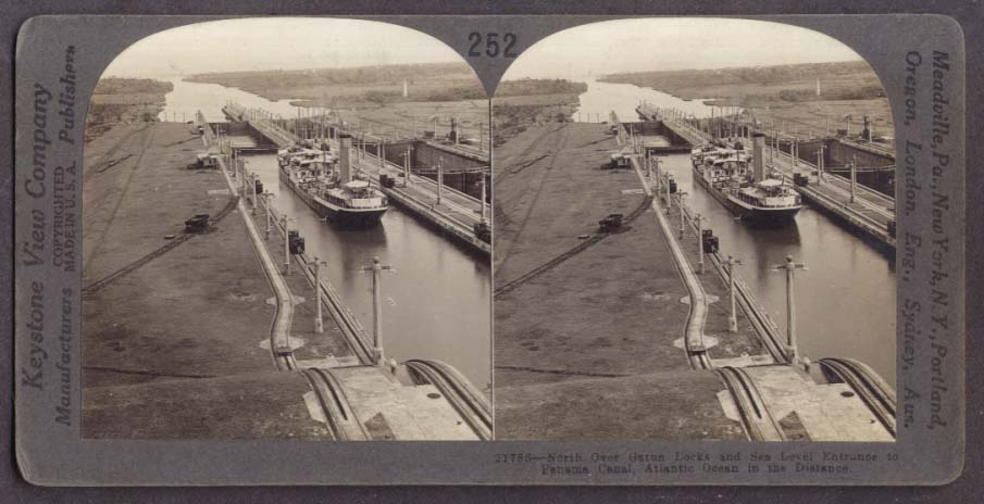 North view Gatun Locks Panama Canal stereoview 1910s