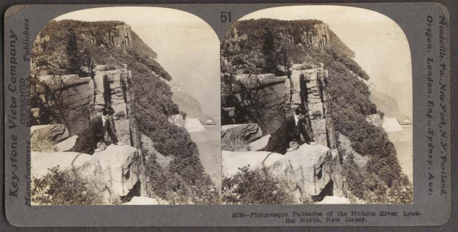 Man atop Palisades Hudson River NJ stereoview 1910s