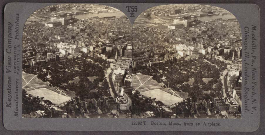 Air view NW Charles River Boston MA stereoview 1910s