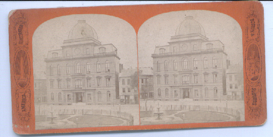 1880's Stereoview  City Hall View Boston MA