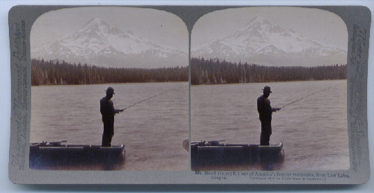 1904 Stereoview Fishing Mt. Hood Lost Lake OR