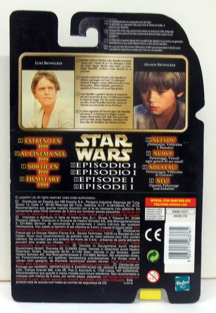 Star Wars Luke Skywalker Flashback MOC 1999 European market card