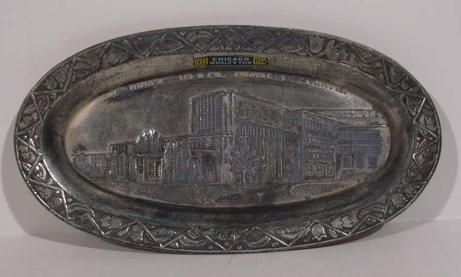 Century of Progress Administration Building oval tray w/ decal 1933