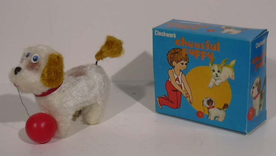 Cheerful Puppy wind-up plush dog Hong Kong #1741 in box