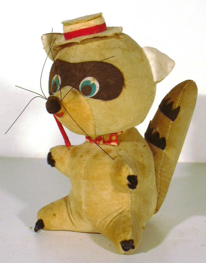 Dakin Dream Pet Raccoon in pork pie hat stuffed animal 1960s