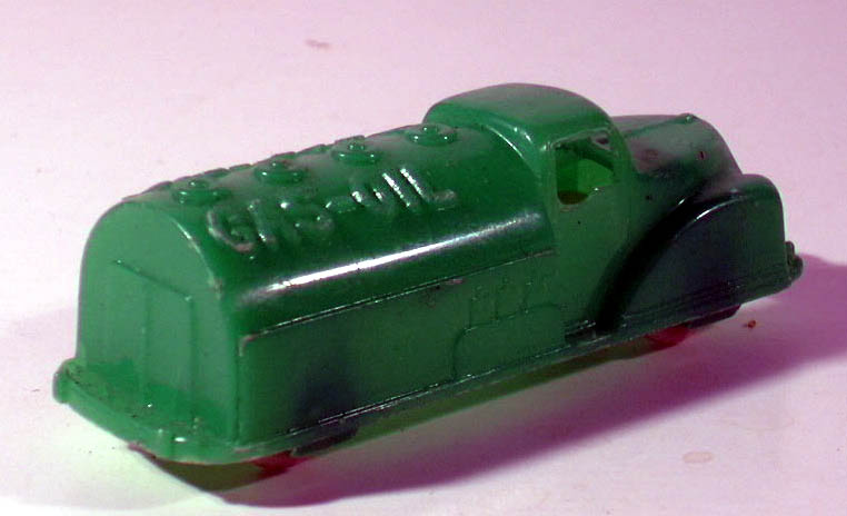 "Renwal #148 green plastic Gas & Oil Tank Truck  3 1/4"" long"