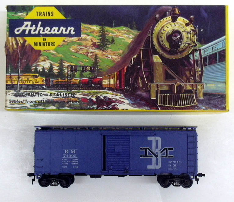 Athearn HO-Scale Boston & Maine Blue Box Car Kit in box, assembled