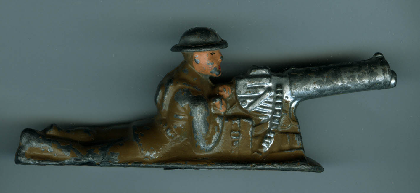 Barclay B63 728 Machine Gunner Prone lead figure, base extends under barrel