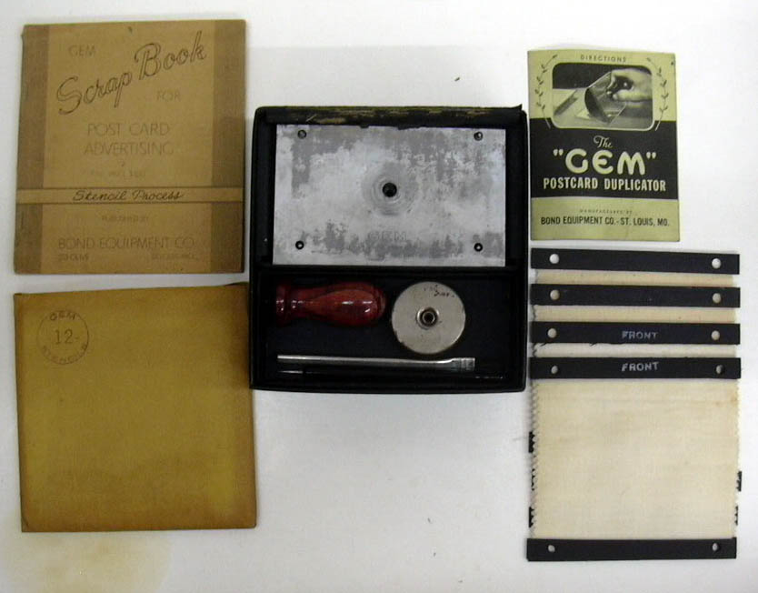 Gem Postcard Duplicator Kit Bond Equipment Co 1940s