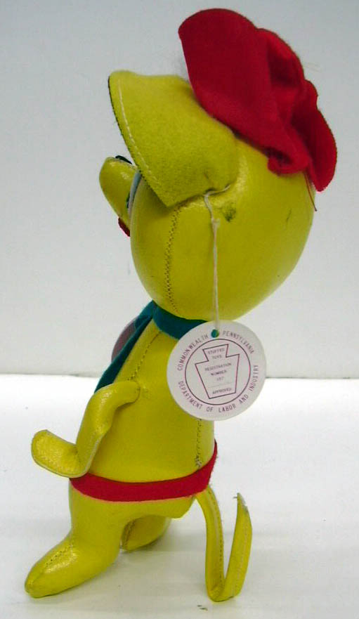 Sarco Mop-Pets yellow animal fisherman ca 1950s w/ original tag