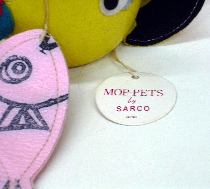 Sarco Mop-Pets yellow animal fisherman ca 1950s w/ original tag
