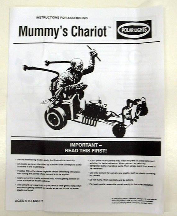 Playing Mantis Polar Lights Mummy's Chariot model kit glows in dark 1996