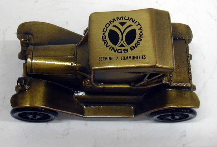 1915 Chevrolet Roadster Banthrico Coin Bank NIB 1970s