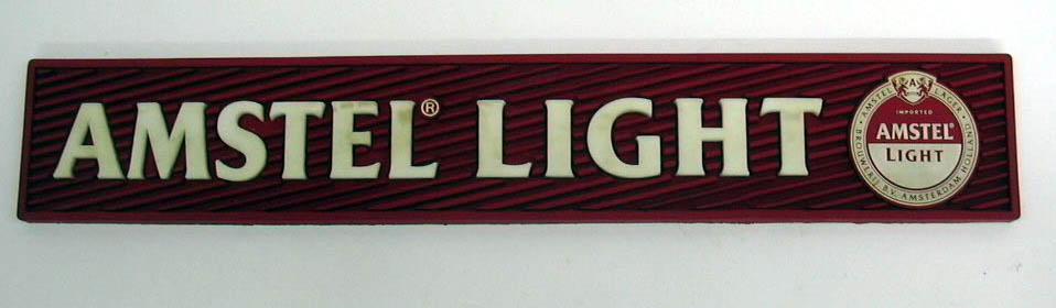 """Amstel Light Beer rubber bar mat 3 1/2 x 20 3/4"""""""