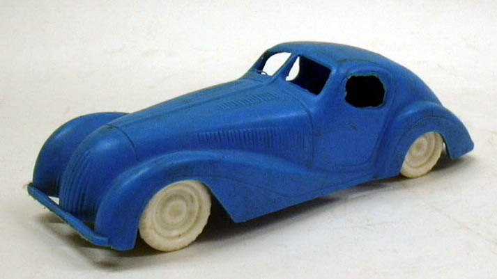 "1950s blue plastic Jaguar Coupe 1930s styling 5"" long"