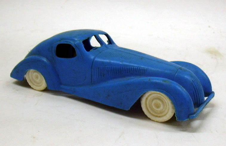 """1950s blue plastic Jaguar Coupe 1930s styling 5"""" long"""