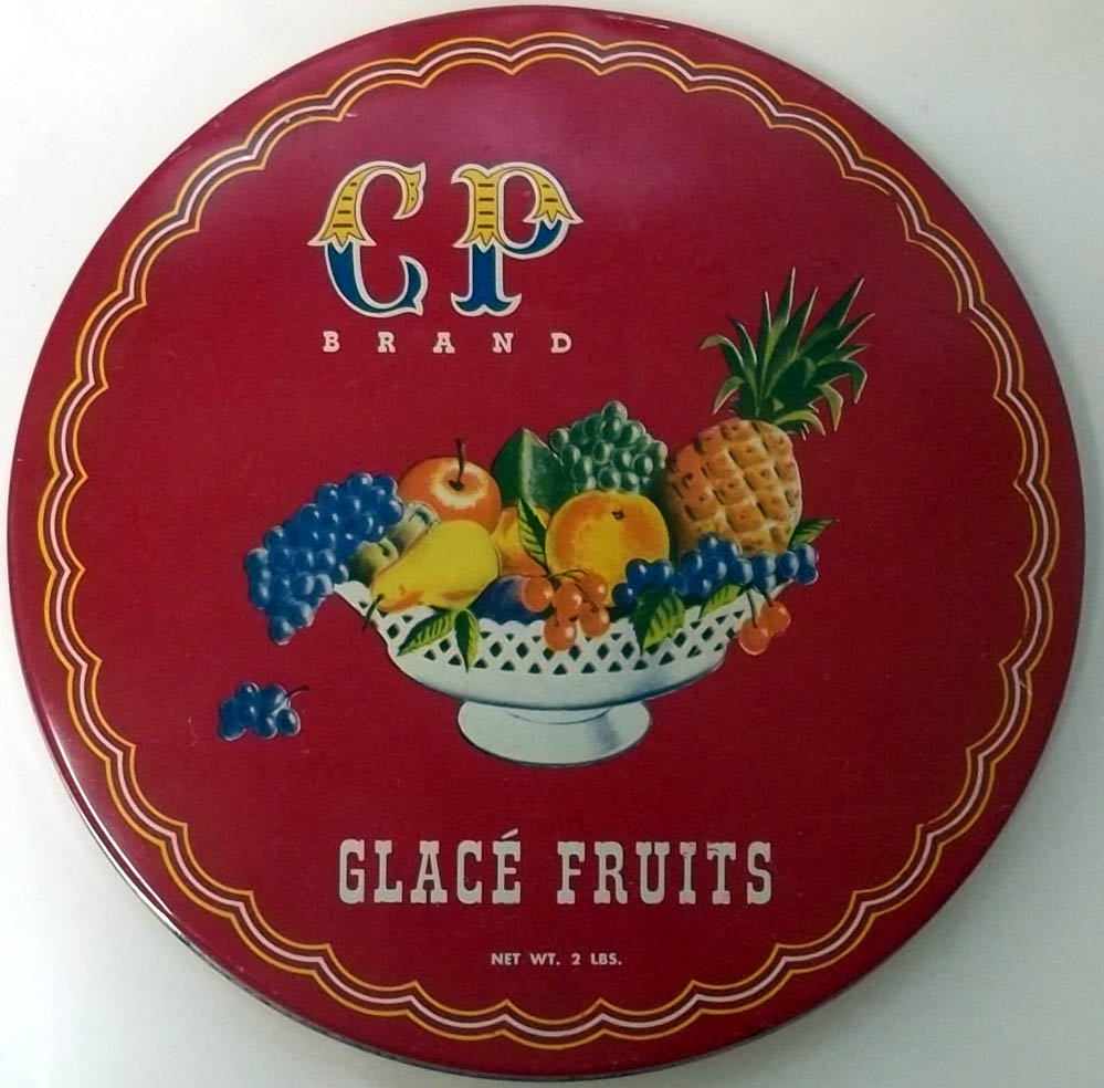 CP Brand Glace Fruits 2-pound metal tin Christo Poulos Brooklyn NY 1950s