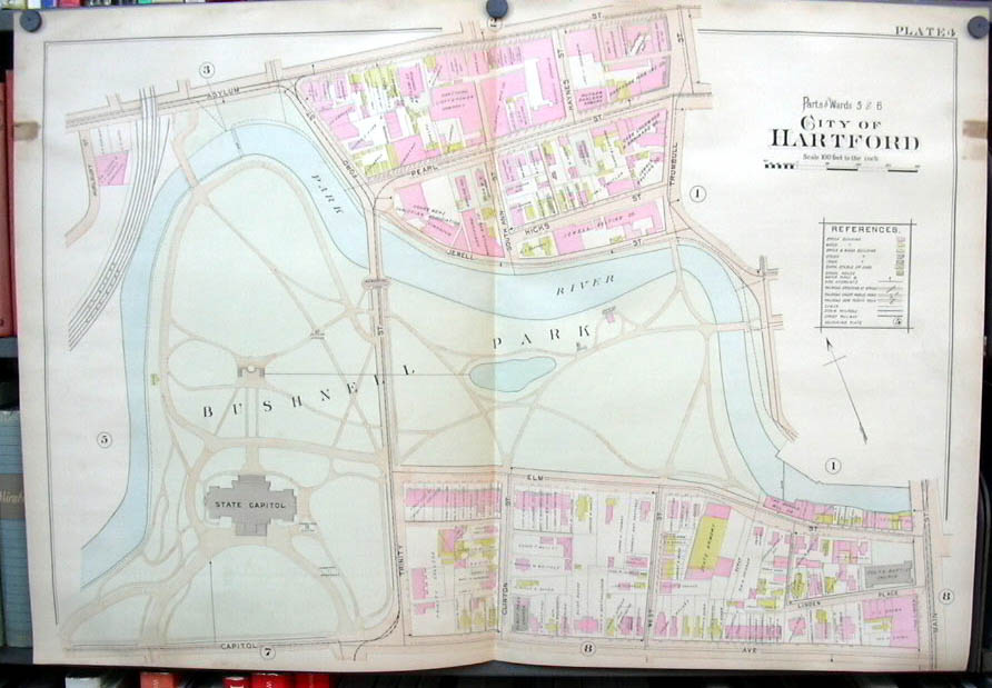 Hartford CT map 1896 Ward 5 & 6 part Capitol Bushnell Park Armory Jewell Belting