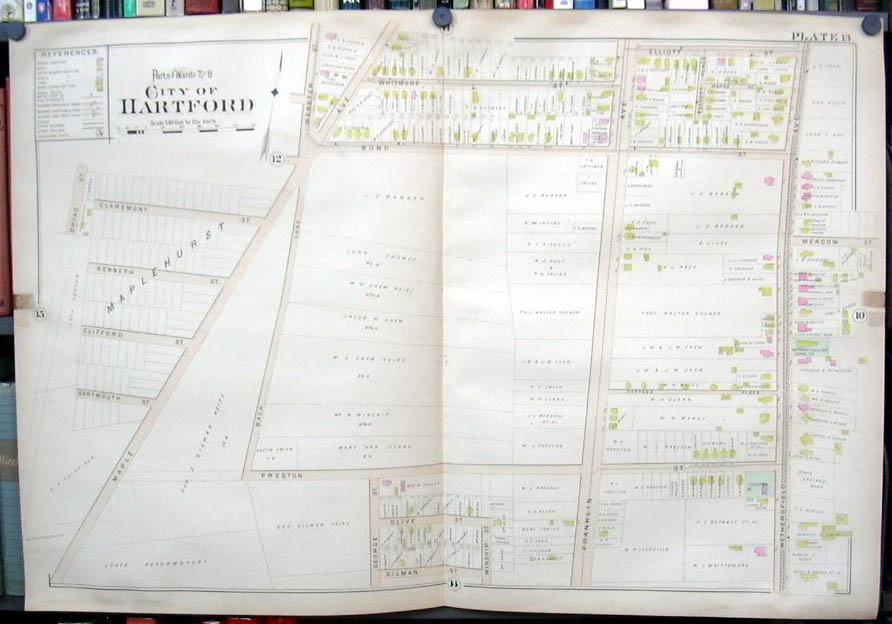 Hartford CT map 1896 Ward 7 & 8 part Maplehurst; State Reformatory +