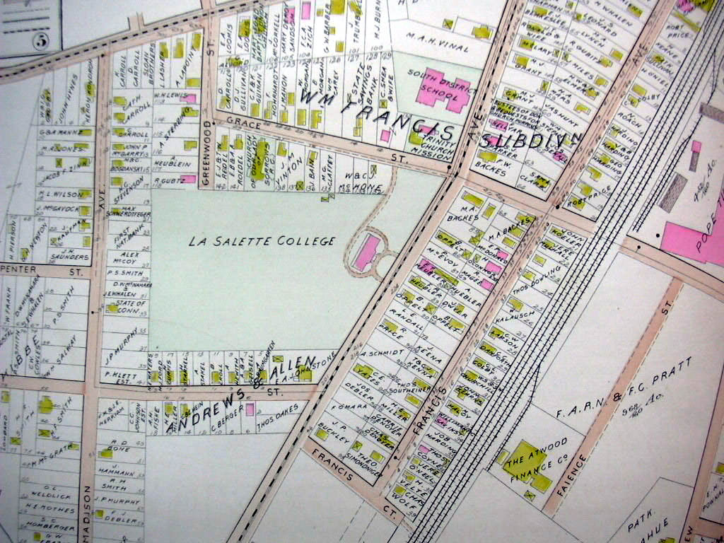 Hartford CT map 1896 Ward 8 & 10 part: Kane Brick La Sallette College Rubber Wks