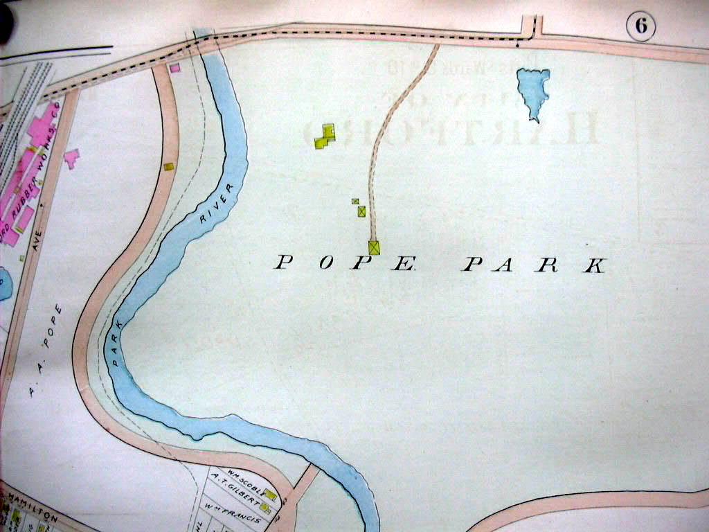 Hartford CT map 1896 Ward 8 & 10 part: Kane Brick La Sallette College Rubber Wks