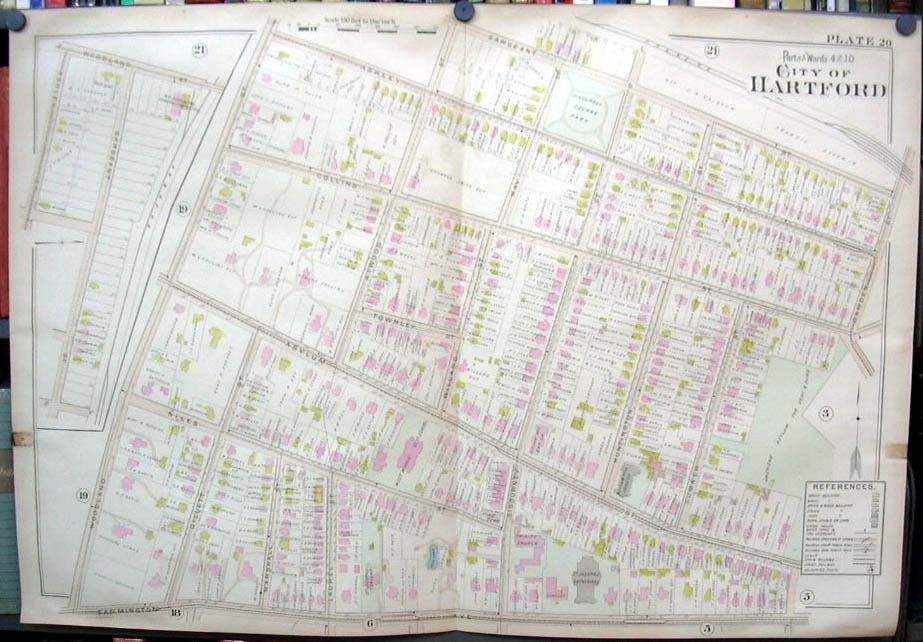 Hartford CT map 1896 Wards 4 & 10 part: Deaf Dumb Asylum; Sigourney Square +