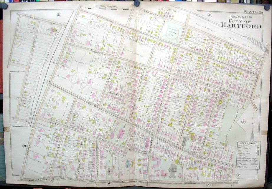 Image for Hartford CT map 1896 Wards 4 & 10 part: Deaf Dumb Asylum; Sigourney Square +