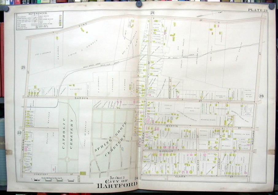 Hartford CT map 1896 Ward 3 Part Catholic & Spring Grove Cemetery Mechanics Bank
