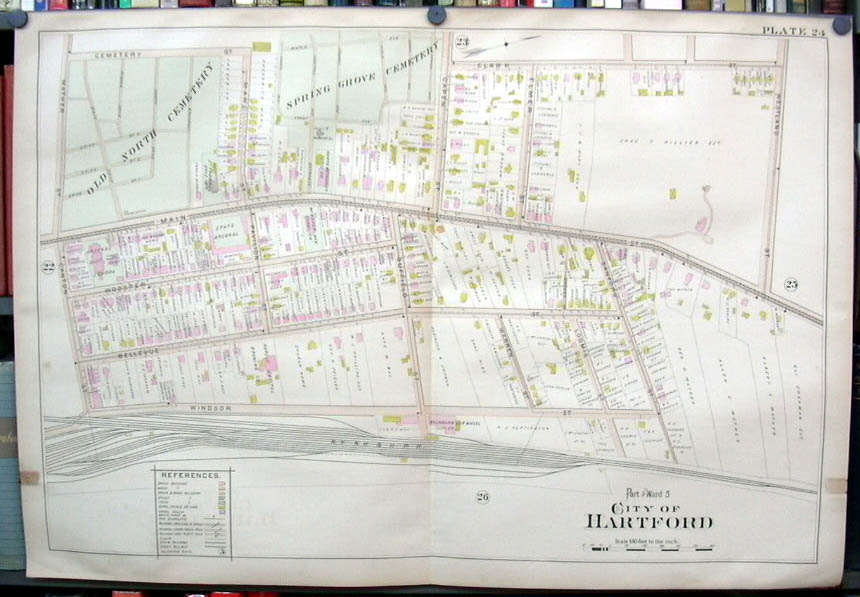 Image for Hartford CT map 1896 Ward 5 Part: State Arsenal, Washburn Car Wheel, cemeteries