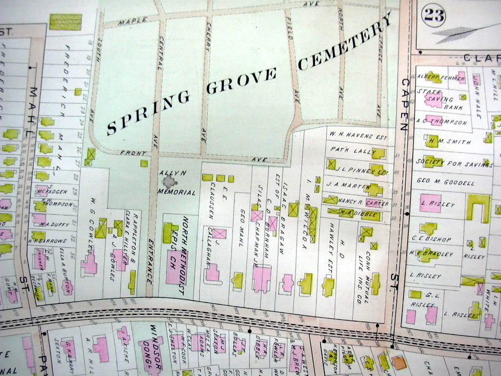 Hartford CT map 1896 Ward 5 Part: State Arsenal, Washburn Car Wheel, cemeteries