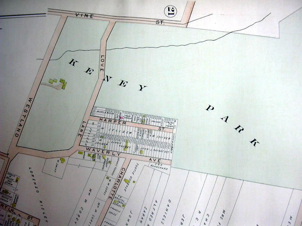 Hartford CT map 1896 Ward 3 Part: Keney Park, Rsisley & Ducette Bricks