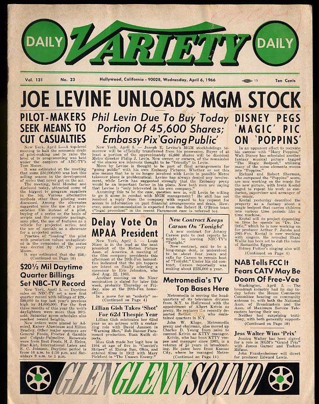 Daily VARIETY 4/6/ 1966 Mary Poppins Joe Levine Lillian Gish Singing Nun +